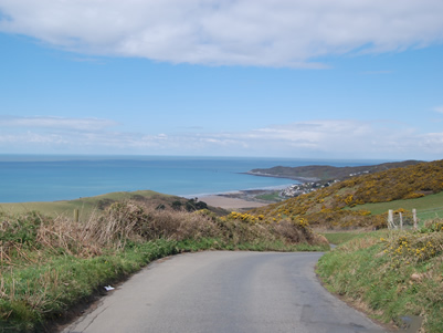 Spectacular view of Woolacombe Bay on the road from Croyde
