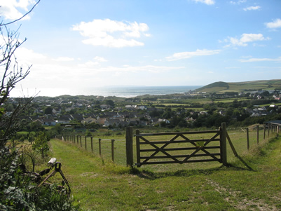 View of Croyde Bay from the footpath behind the house