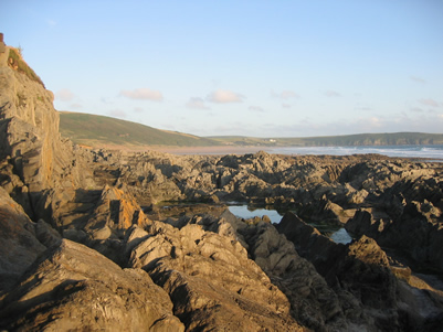 Spectacular rock formations at Woolacombe